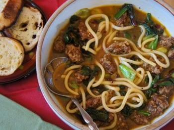 Grandma's frozen pasta made into a spicy pork dish