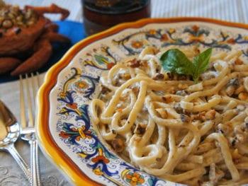 Walnut Gorgonzola pasta sauce noodles with Grandma's noodles