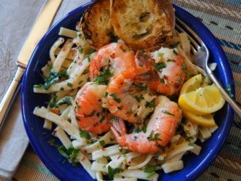 Grandma's frozen pasta prepared into shrimp scampi